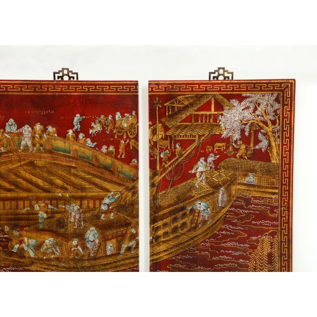 Chinoiserie Red Lacquered Chinoiserie Panels - Set of 6 For Sale - Image 3 of 13