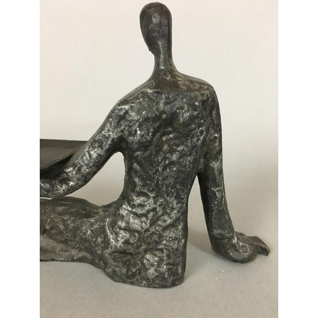 Mid-Century Metal Sculpture of Reclining Female Business Card Holder For Sale - Image 9 of 12