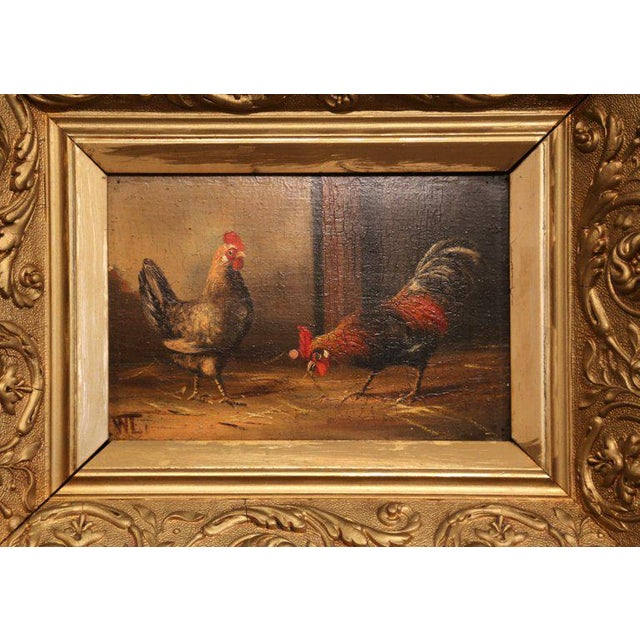 Pair of 19th Century French Oil Chicken Paintings on Board in Carved Frames Circa 1880 For Sale In Dallas - Image 6 of 10