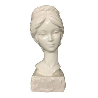 Vintage White Ceramic Bust of Lady For Sale