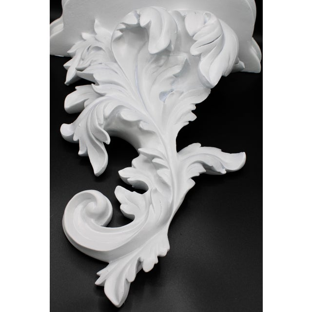 Large White Acanthus Leaf Wall Shelf For Sale - Image 10 of 12