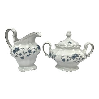 Blue GArland Sugar & Creamer, Set of 2
