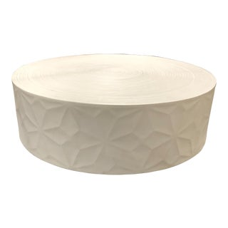 Contemporary White Round Cocktail Table For Sale