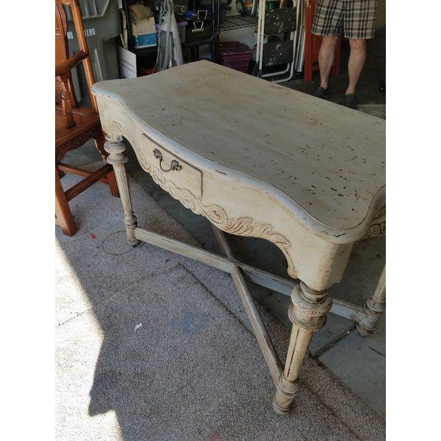 French Antique French Distressed Writing Desk For Sale - Image 3 of 5