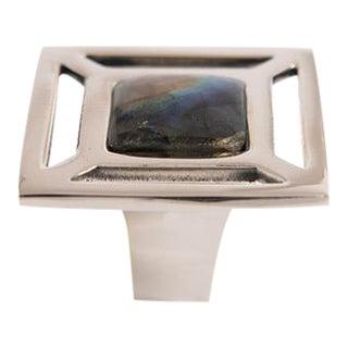 Addison Weeks Evans Custom Knob - Polished Nickel & Labradorite For Sale