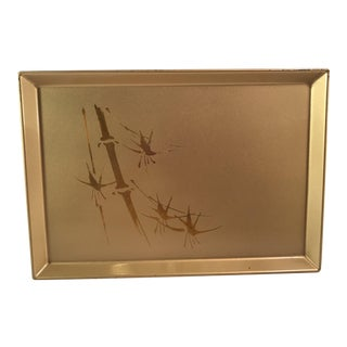 Vintage Gold Lacquered Tray with Bamboo Design For Sale