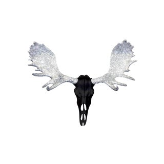Wall Charmers Alberta Faux Black + Silver Glitter Antlers Resin Moose Head Skull For Sale