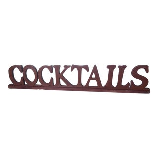 Final Markdwn /1980s Rustic Wooden Cocktails Sign/Sit or Hang For Sale