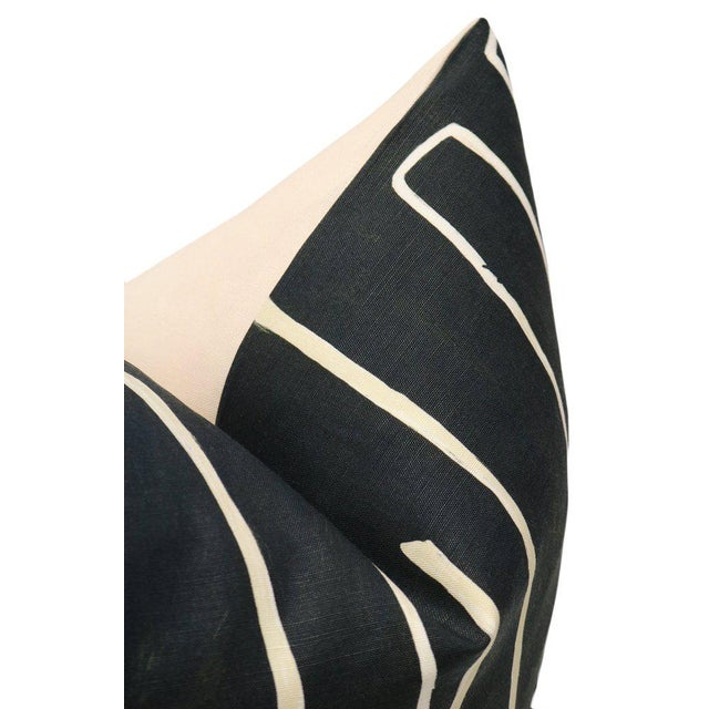"12"" X 18"" Graffito Onyx + Beige Lumbar Pillows - a Pair For Sale - Image 6 of 7"