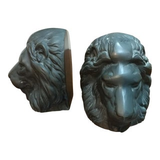 Bronze Lion Head Bookends- A Pair For Sale