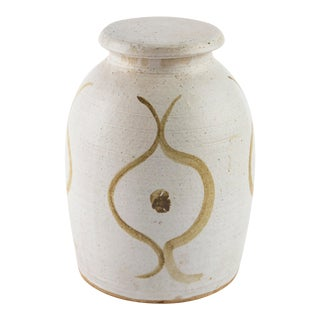 Signed Mid Century Stoneware Jar For Sale