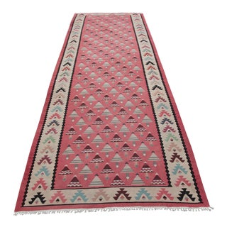 Decorative Vintage Hallway Kilim - 3′11″ × 9′10″ For Sale