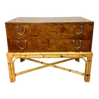 Olive Burl Wood Chest With Bamboo Base and Brass Pulls For Sale