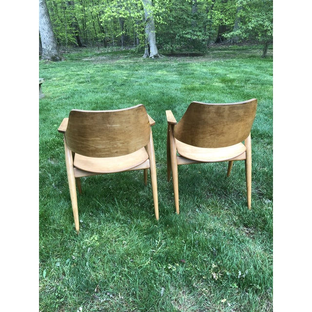 Mid 20th Century Thonet Modern Bentwood Plywood Armchairs - a Pair For Sale - Image 5 of 11