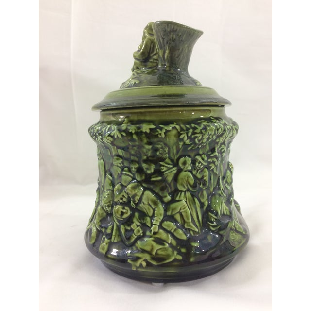 French Country French 19th Century Tobacco Jar With Party Scene For Sale - Image 3 of 9