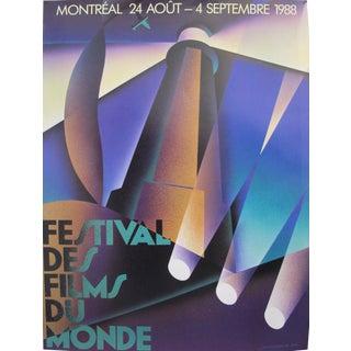 1988 Original Vintage Poster - Festival Des Films Du Monde - Alain Levesque For Sale