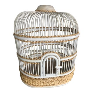 Wood Bird Cage With Sisal Roping By Palecek