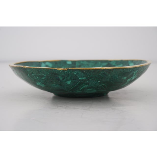 Vintage Round Malachite Dish With Scalloped Brass Rim For Sale In West Palm - Image 6 of 10