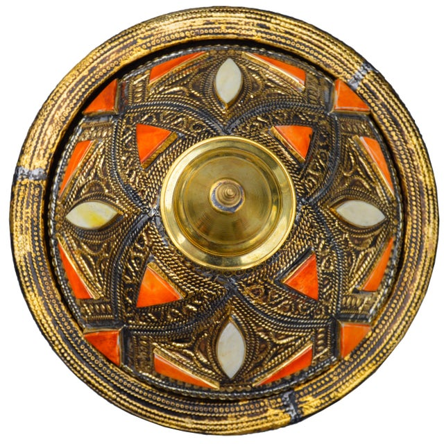 Boho Chic Moroccan Lidded Dish W/ Orange & Brass For Sale - Image 3 of 4