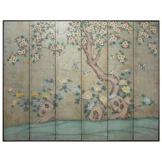Chinoiserie Painted Silver Leaf 6-Panel Wallpaper Screen For Sale