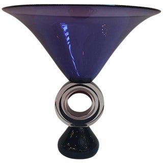 Onetti Style Italian Art Glass Amethyst Pedestal Bowl For Sale