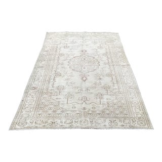 Turkish Antique Handknotted Tribal White Wool Area Rug