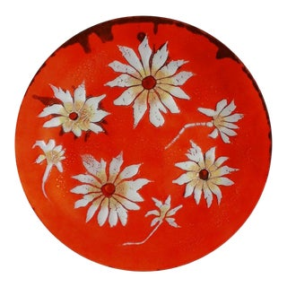 Large Mid Century White Flowers Orange Enamel Copper Decorative Plate For Sale