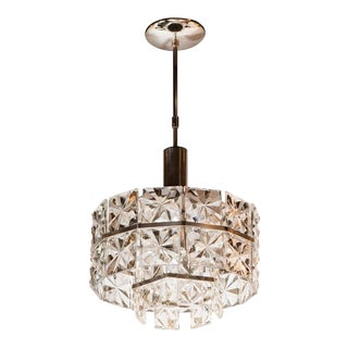 Mid-Century Modern Faceted Two-Tier Crystal Chandelier by Kinkeldey For Sale