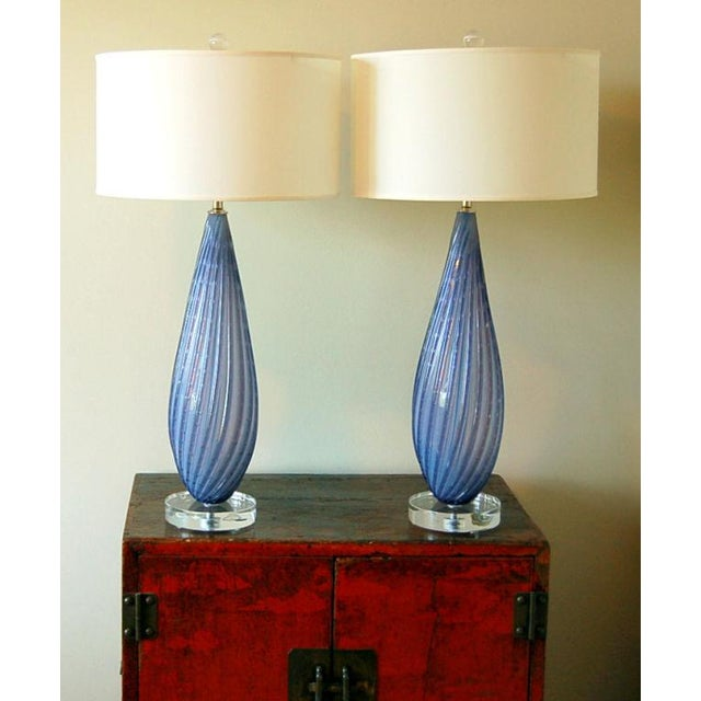 Hollywood Regency Vintage Murano Opaline Glass Table Lamps Lavender For Sale - Image 3 of 9