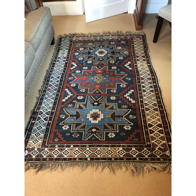 Antique Area Rug in Blues and Cranberry For Sale In Philadelphia - Image 6 of 10