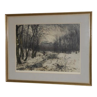 "Luigi Kasimir ""Klosterneuburg"" Original Pencil Signed Color Etching C.1938 For Sale"