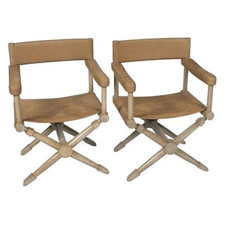 Brown Suede Director's Chairs - A Pair