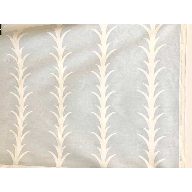 Traditional 18 Yards Schumacher Acanthus Stripe Sky Fabric For Sale - Image 3 of 3
