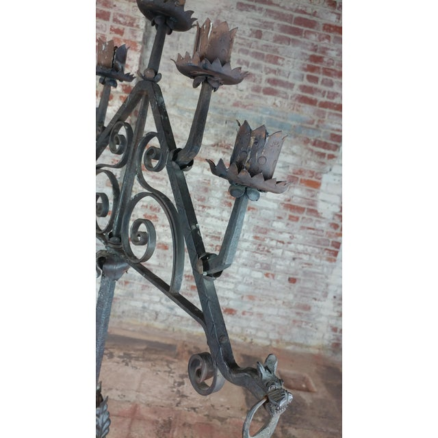 Antique Spanish Gothic Wrought Iron floor Candelabra For Sale In Los Angeles - Image 6 of 12