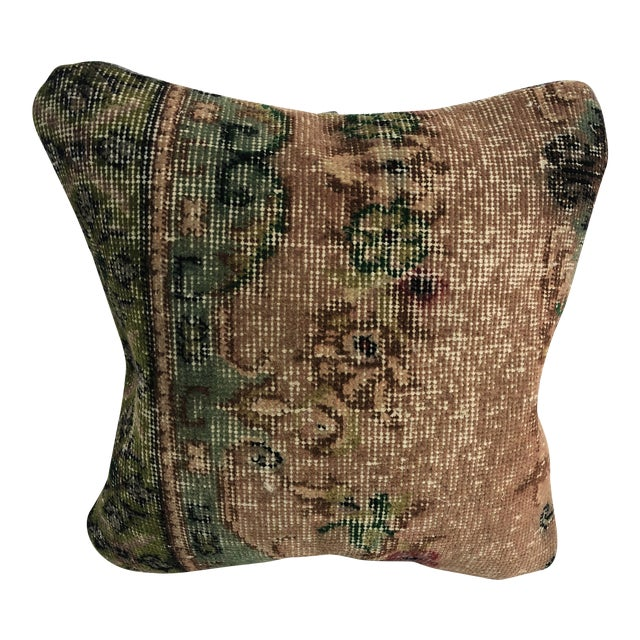 1970s Turkish Oushak Bronze and Green Handmade Decorative Pillow Cover For Sale