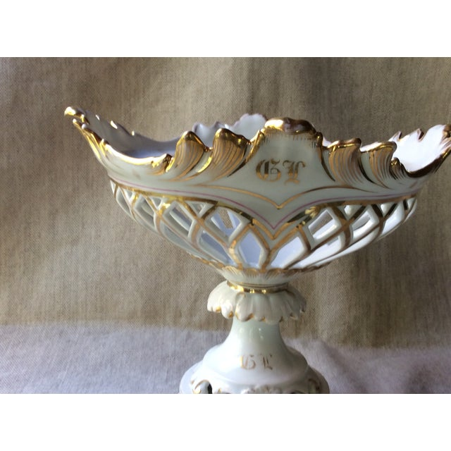 French French Antique Porcelain, Pink & Gold Corbeille, 19th C For Sale - Image 3 of 10