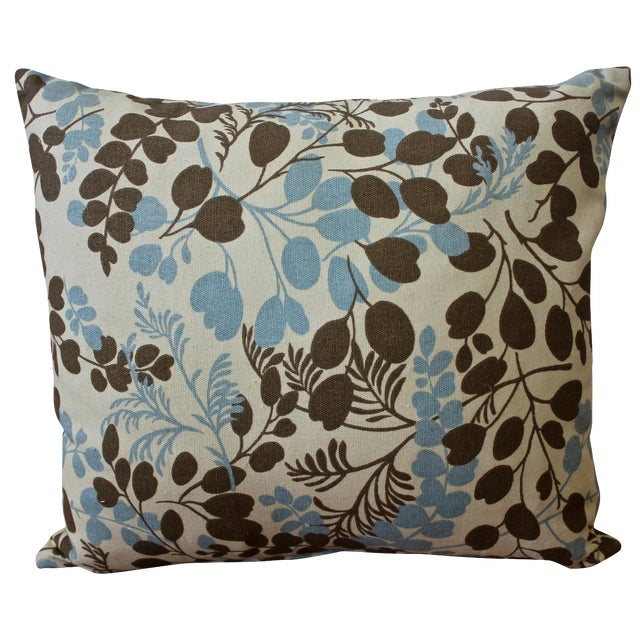 Blue and Brown Leaf-Pattern Pillow - Image 1 of 2