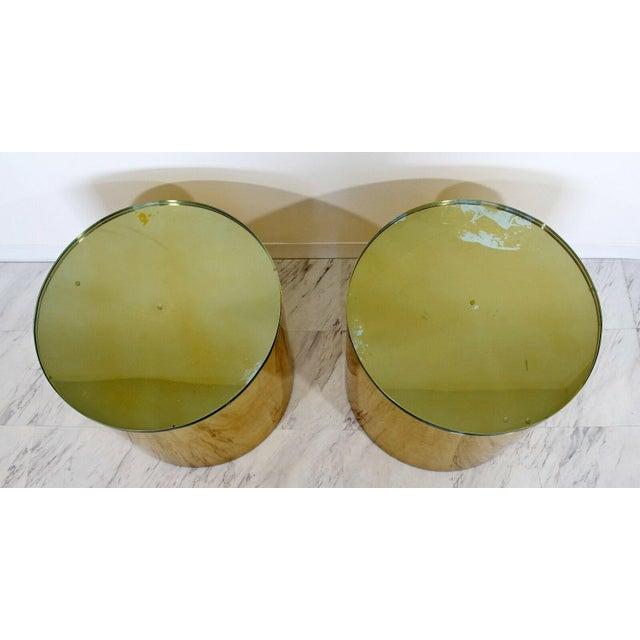 1970s Mid Century Modern Pair Brass Round Drum Side Tables Paul Mayen Habitat 1970s For Sale - Image 5 of 7