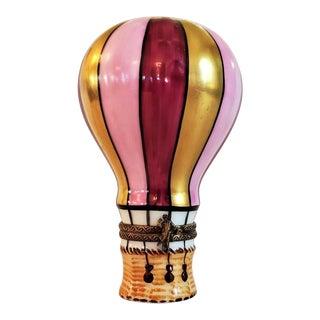 Vintage Limoges Hot Air Balloon Trinket Box For Sale