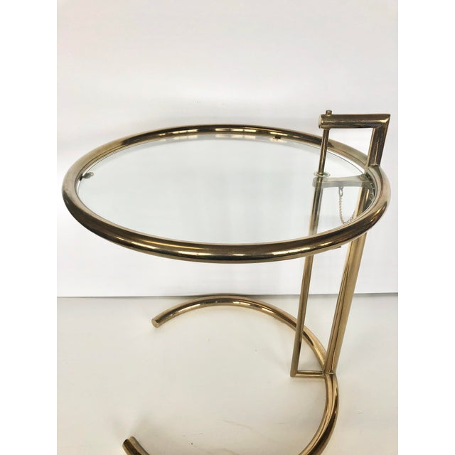 Eileen Gray 1970s Eileen Gray Modern Brass Side Table For Sale - Image 4 of 6