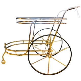 Brass Mid-Century Modern Tea Wagon or Serving Cart For Sale