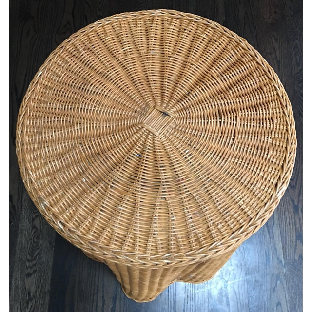 1970s 1970s Boho Chic Trompe l'Oeil Draped Wicker Rattan Ghost Table For Sale - Image 5 of 11
