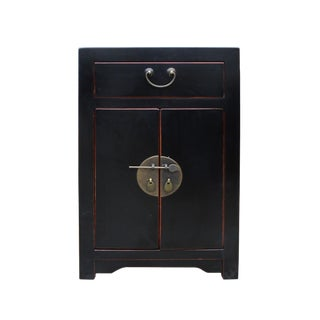Oriental Distressed Black Lacquer Side End Table Nightstand For Sale