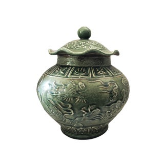 "Chinese Dragons Celadon Ginger Jar 15"" For Sale"