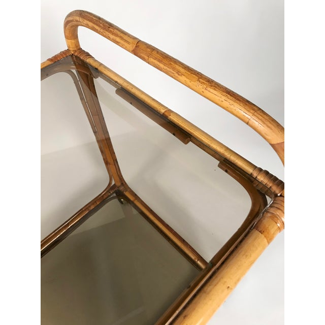 Caning Rattan and Smoked Glass Bar Cart For Sale - Image 7 of 8