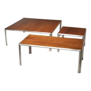 Set of Three Silver Plated Low Tables by Lino Sabattini For Sale