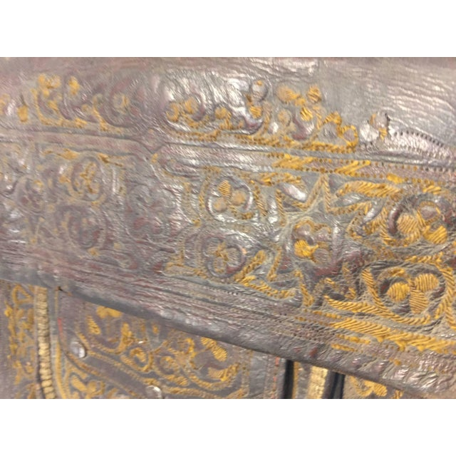 African Hand Tooled Leather Tribal Shoulder Bag For Sale In Los Angeles - Image 6 of 8