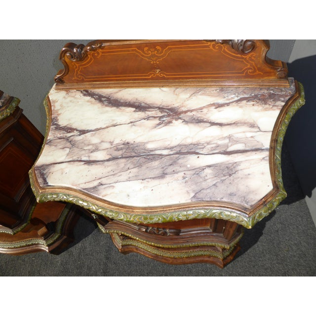 Antique French/Italian White Marble Top Nightstands - a Pair - Image 7 of 11