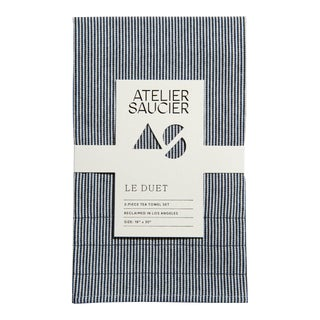 Hickory Blue & White Tea Towels - A Pair For Sale