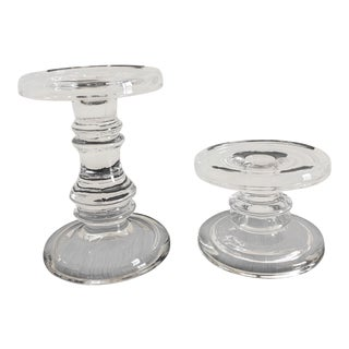 Simon Pearce Style Contemporary Modern Organic Glass Candle Holders - a Pair For Sale
